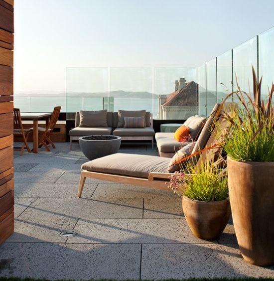 glas geländer ideen für garten balkon windschutz | dachgärten, Terrassen ideen