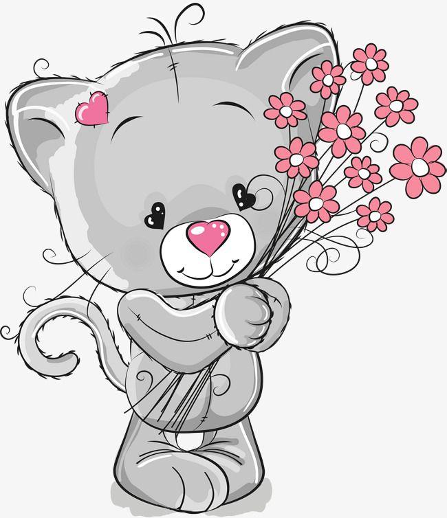 Поздравления, картинки котики с цветами мультяшные