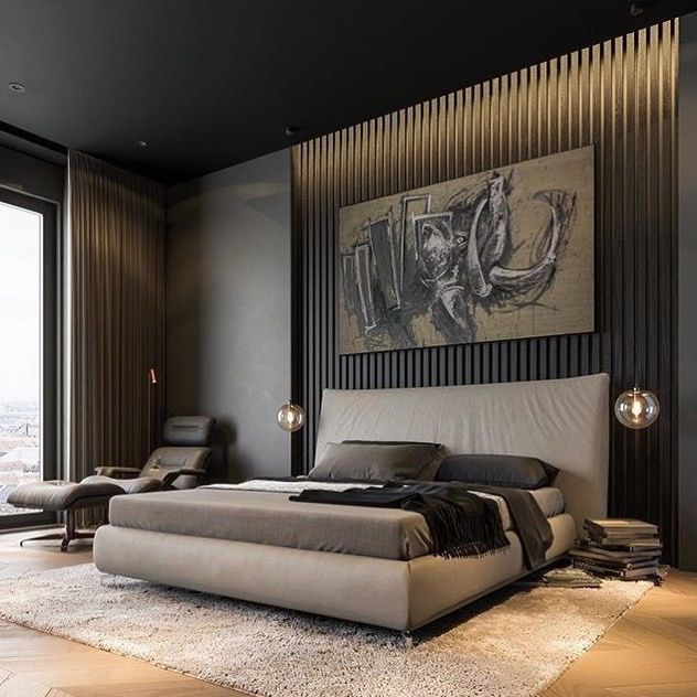 30 Stylish And Contemporary Masculine Bedroom Ideas: Floor To Ceiling Drapery At The Windows And Behind The Bed