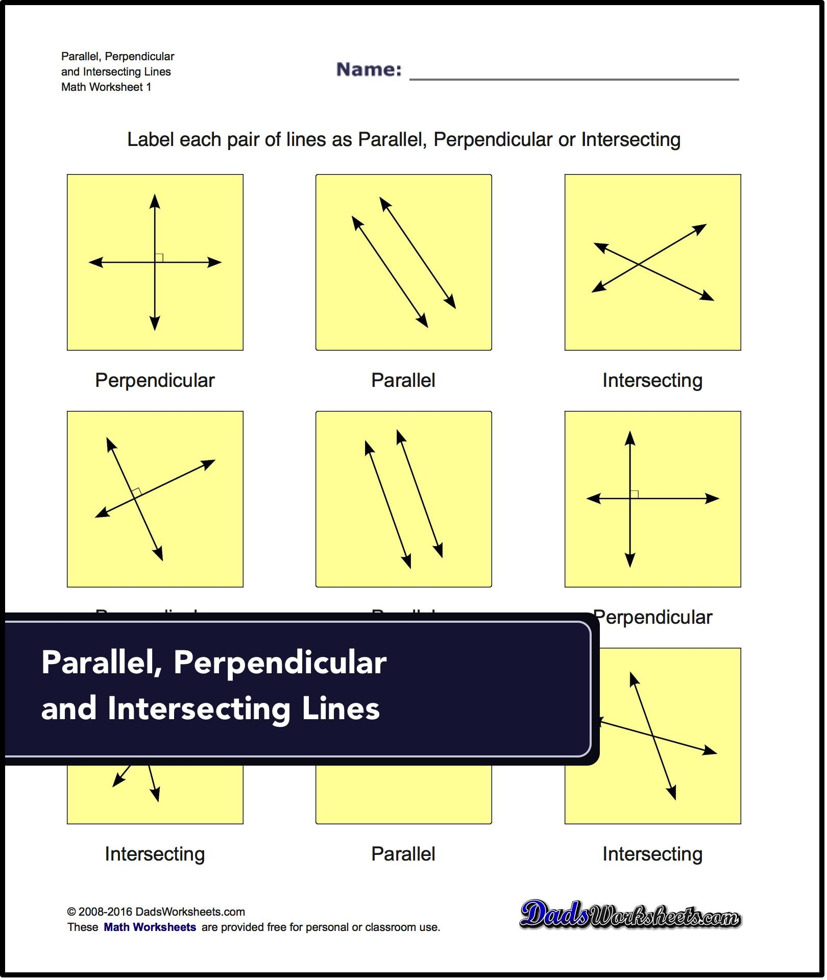 worksheet Parallel Perpendicular Intersecting Lines Worksheet basic geometry parallel perpendicular intersecting labelling lines as or