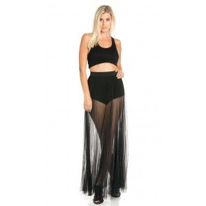 171f49a1cc4 Pleated High Waisted Sheer Maxi Skirt in Black (Plus Sizes Available ...