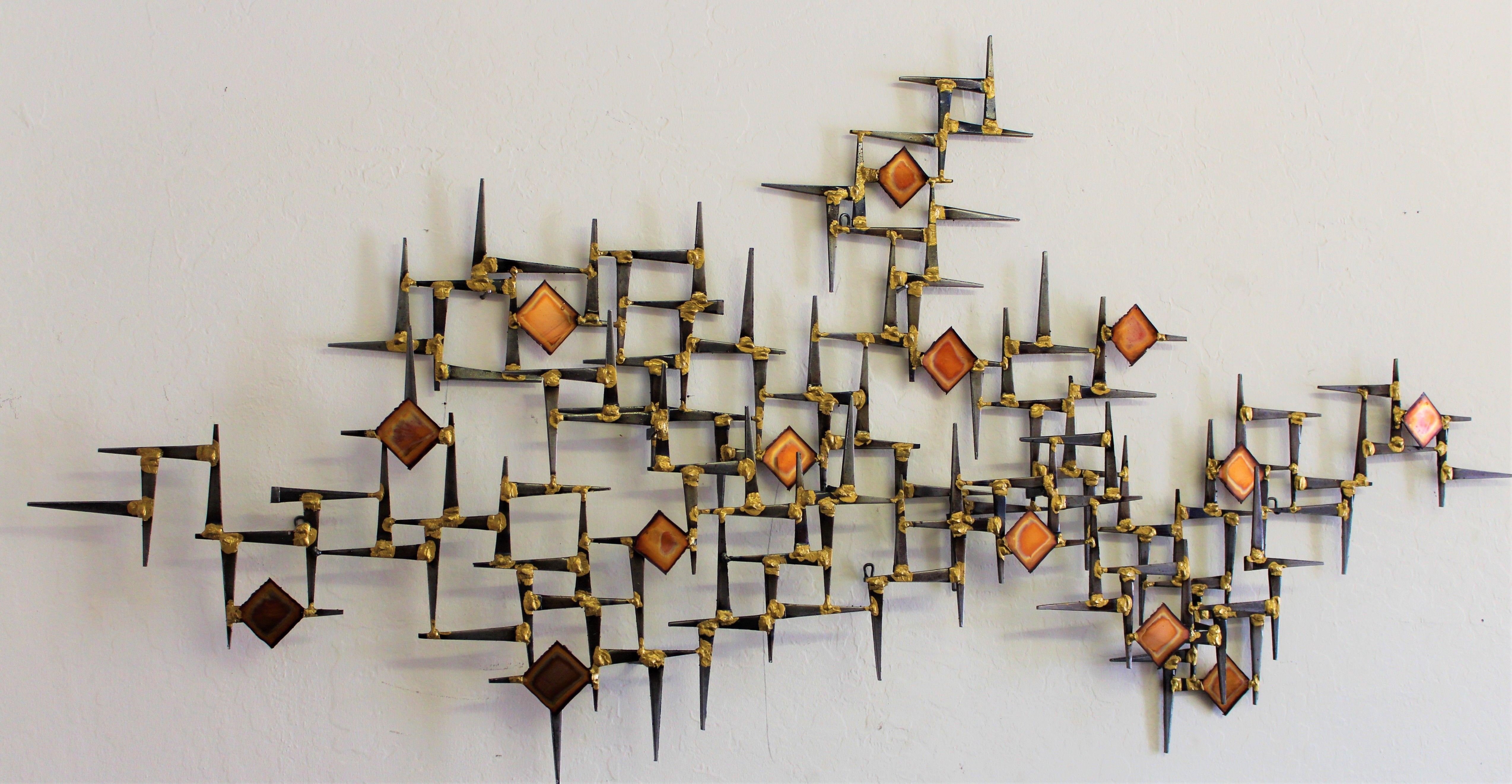 Steel Nail Sculpture Created By Artist Corey Ellis Mid Century Modern Wall Sculpture Created By Artis Modern Wall Sculptures Wall Sculptures Wall Sculpture Art