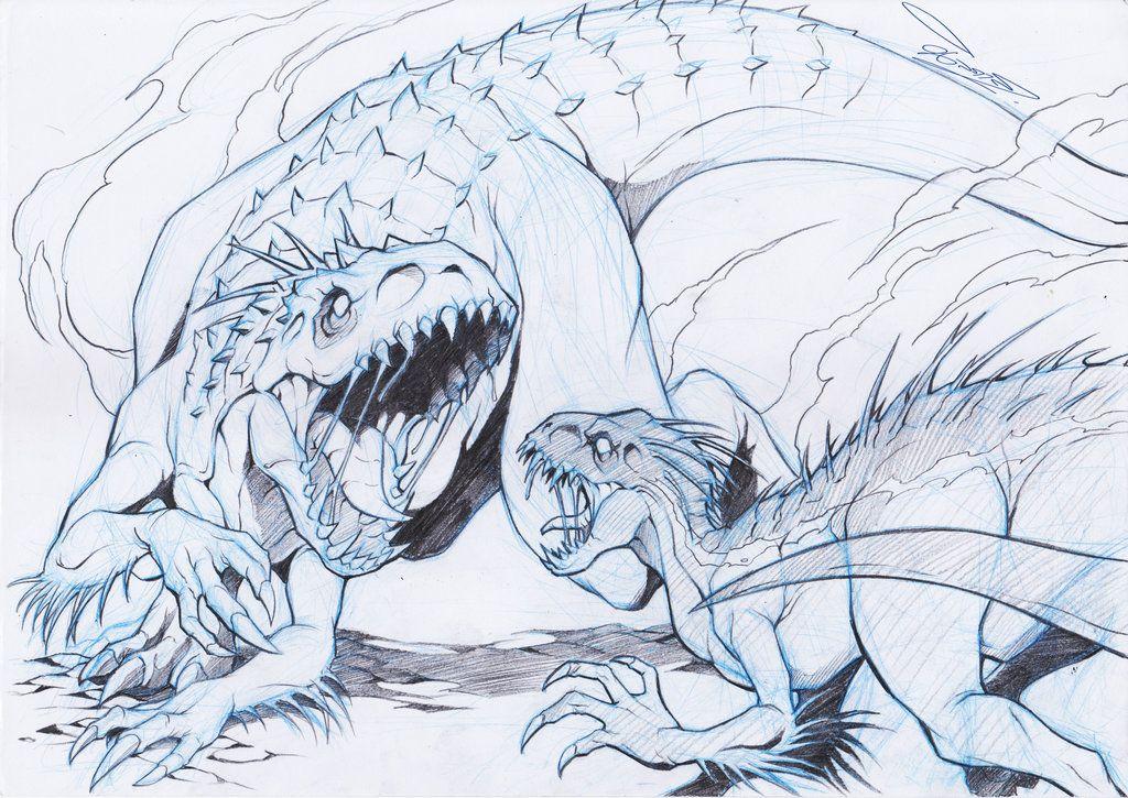 Indominus Rex Vs Indoraptor By Chaosartstudio Jurassic