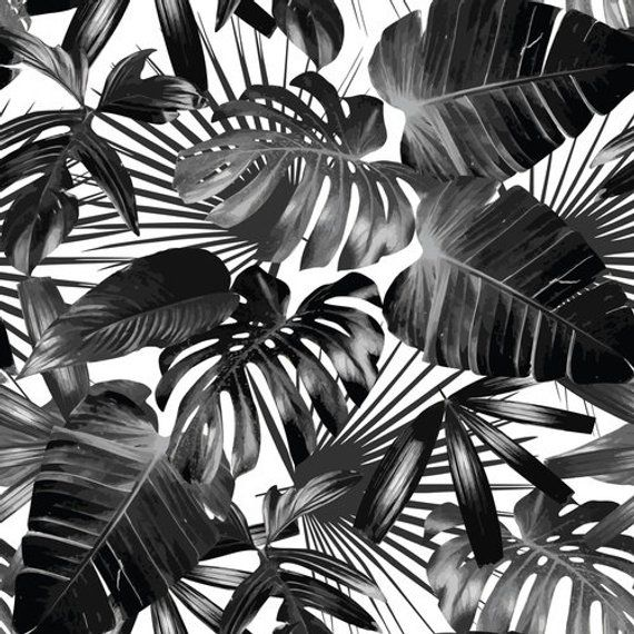 Dark tropical wallpaper, peel & stick, graphic palm leaves