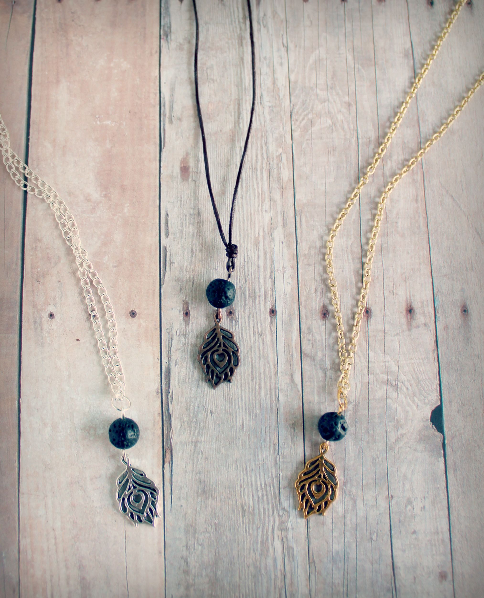 Sufferers wear copper jewelry in the hopes of easing symptoms - Diffuser Necklace With Natural Lava Stone And Peacock Charm In Silver Gold Or Copper