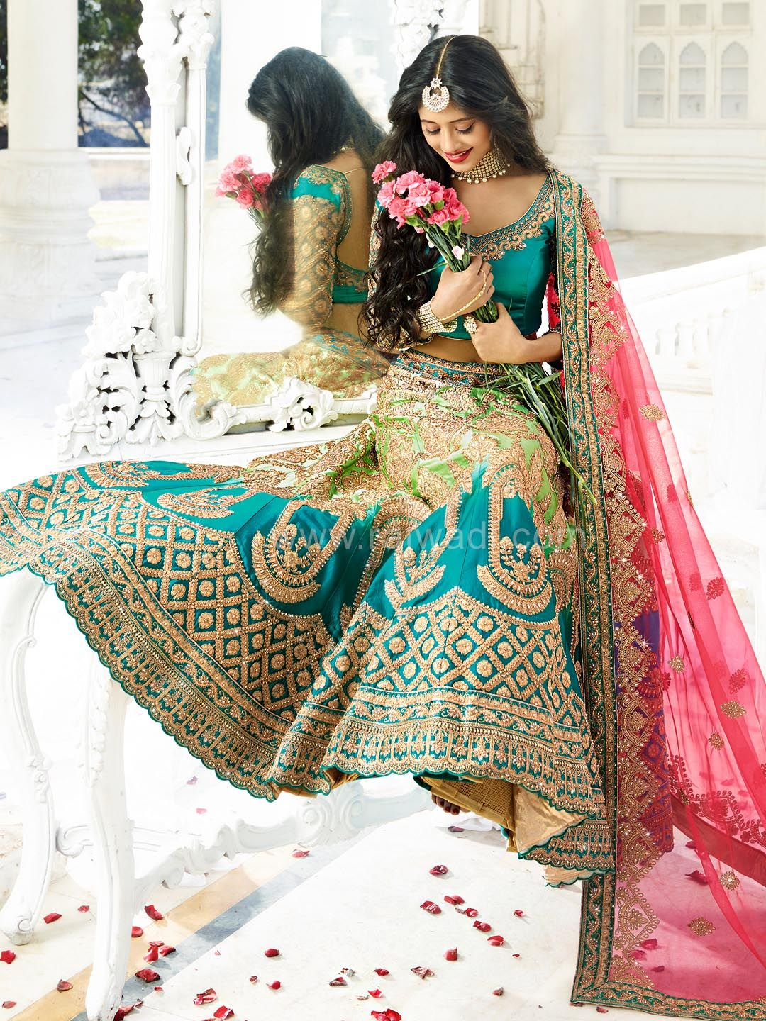 eb6284cc9d Lawn Green and Blue Colored Shivangi Joshi Lehenga Choli Indian Gowns,  Indian Suits, Indian