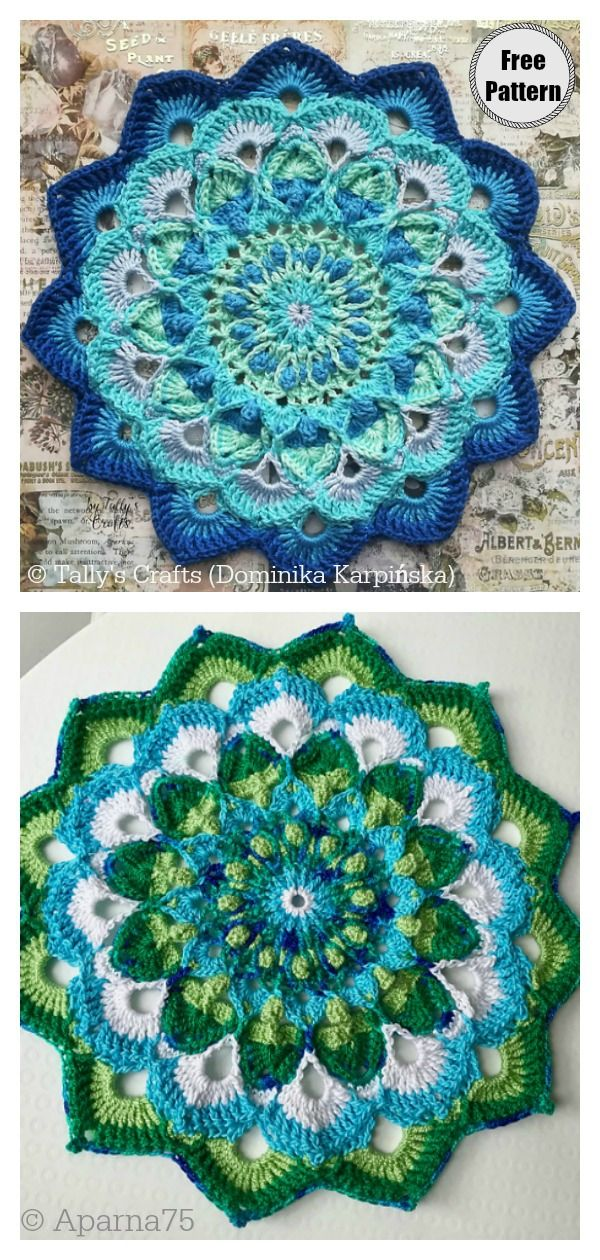 10 Colorful Crochet Mandala FREE Patterns