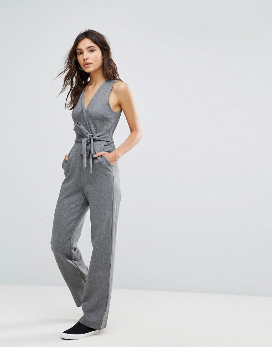 74f4d7ea3d9 Oeuvre Jumpsuit With Bow Front - Gray
