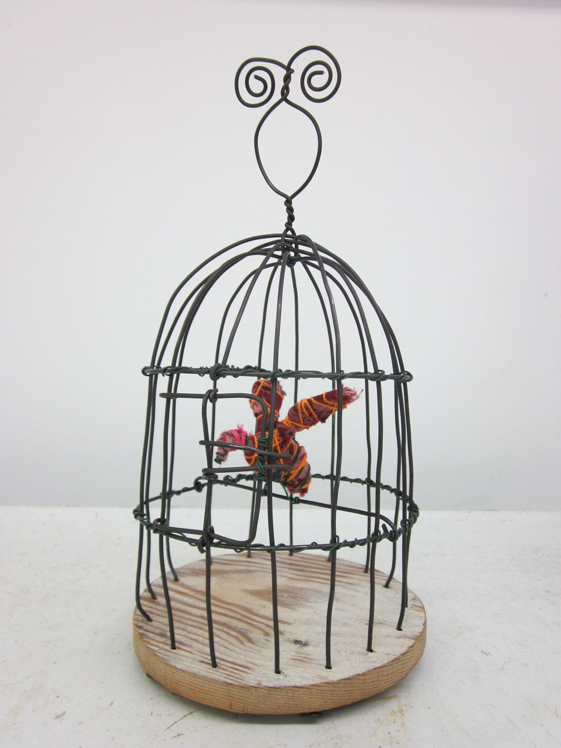 Wire Birdcage With Images Bird Cage Fabric Birds Handmade Wire