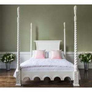 Luxury Poster Beds provencal luxury four poster white bed - french shabby chic poster