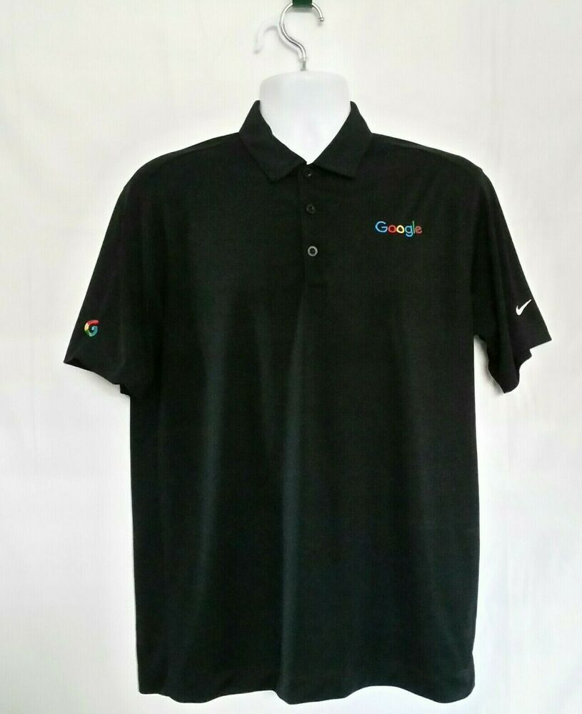 645e383e Nike Golf Men Size M Dri Fit Standard Fit Black Polo Google Time Machine  Logo #