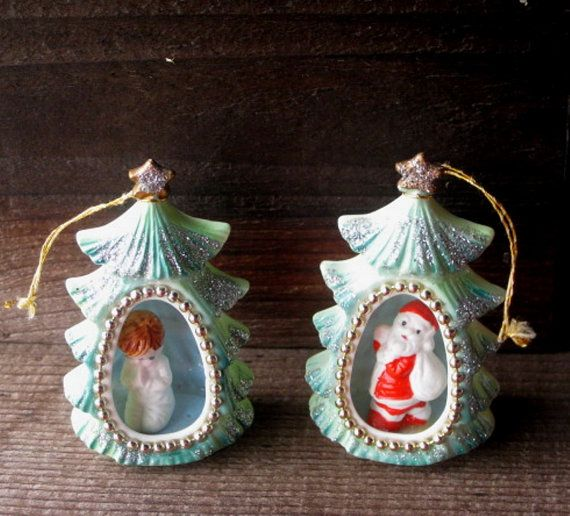 Bone China Christmas Ornaments Santa and by RiverHouseArtPottery