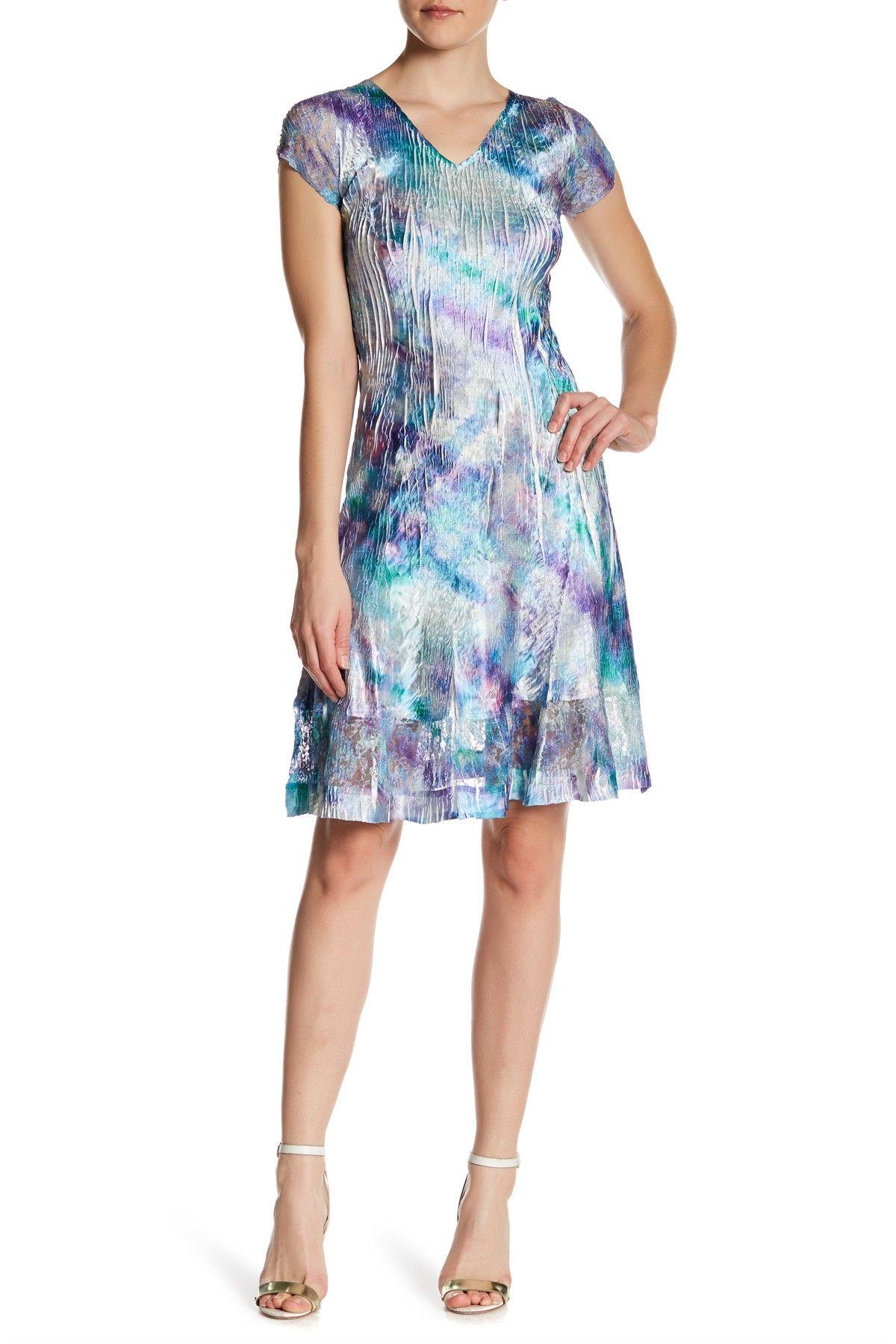 Lace Paneled V-Neck Dress