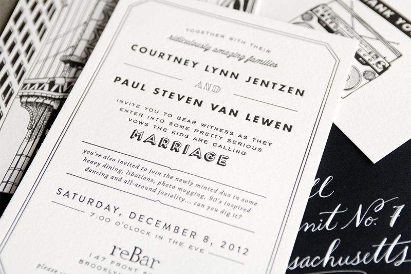 Courtney Paul S Brooklyn Wedding Invitations Invites