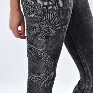T Party yoga pants with dragon patch on the leg, $34.99