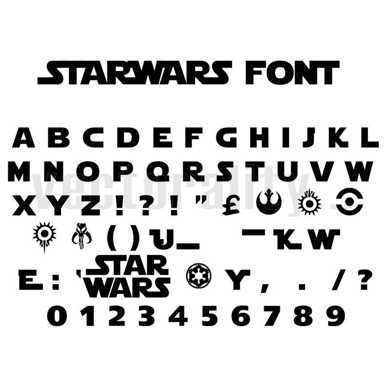 Starwars Jedi Font Text Writing Words Letters Vector Art