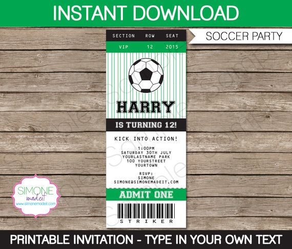 Soccer Ticket Invitation - INSTANT DOWNLOAD - Editable Birthday - printable ticket invitations