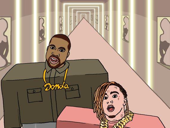 Kanye West X Lil Pump I Love It Art Decor Wall Art Illustration Dorm Interior Hip Hop Poster Illustration Art Rapper Art