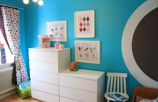 Wandfarben Ideen Kinderzimmer Junge Himmelsblau Weiße Möbel
