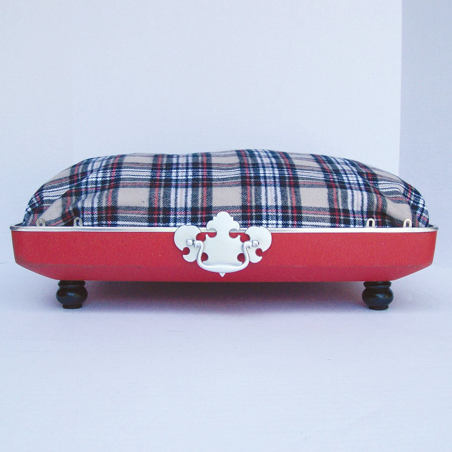 Red flannel fabric  Pet Bed from Vintage s Suitcase  Red with Tan Red and Black