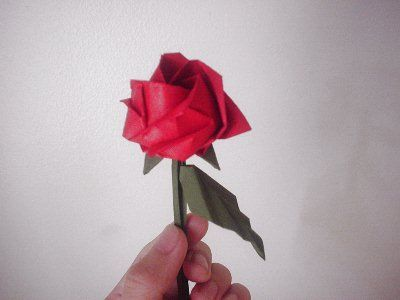 Simple Calyx Stem And Leaf For The Kawasaki Rose Origami Flowers