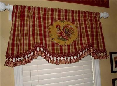 Chicken Decor Curtains And Tableclothes Rooster Curtains Kitchen - French country valances