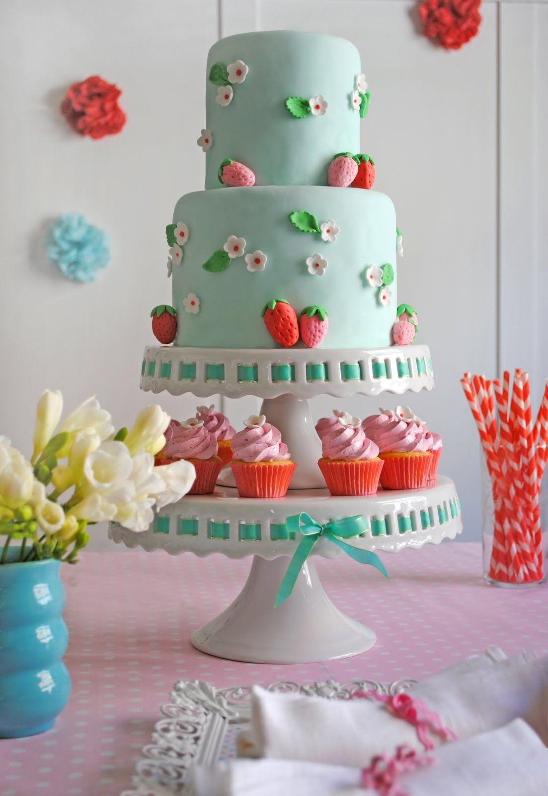 In law in addition free pink birthday cake in addition bake shop party - Pink And Blue Strawberry Birthday Party