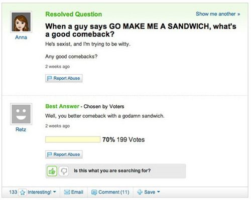 50 Hilarious Yahoo Answers Good Comebacks Funny Yahoo