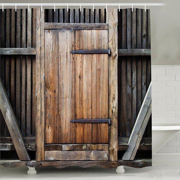 180CM Rustic Wooden Board Barn Door Waterproof Shower Curtain Bath Accessories