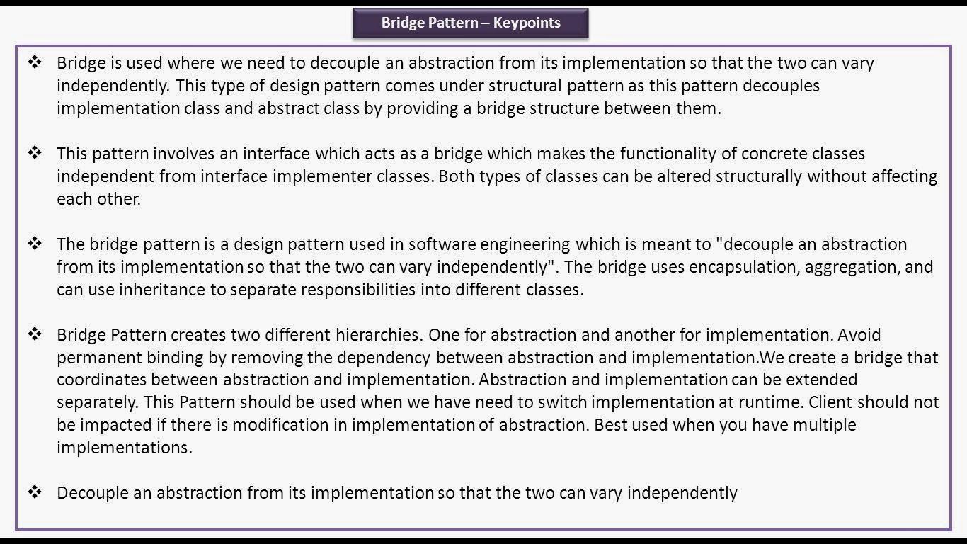 Java Ee Bridge Design Pattern Keypoints Bridge Design Pattern Design Design