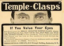 1904 Vintage Ad Briggs Temple Clasps Glasses Eyeglasses ORIGINAL ADVERTISING