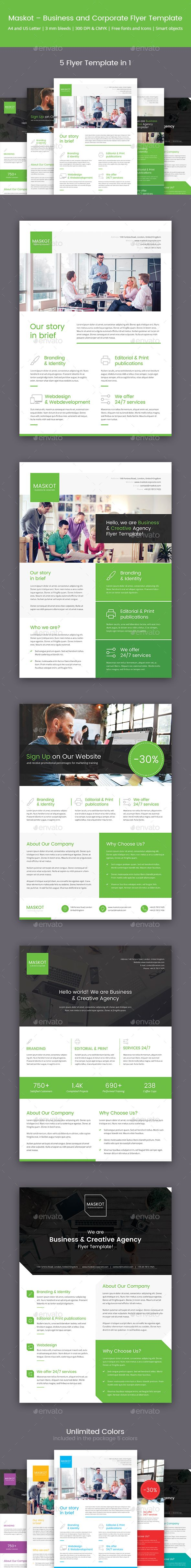 Maskot  Business And Corporate Brochure Flyer Template  Flyers