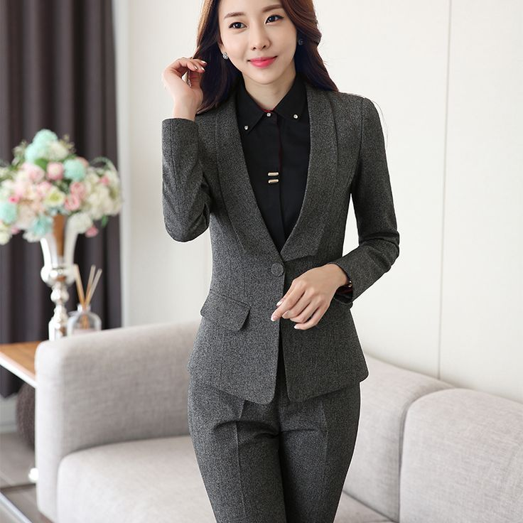 Suits & Sets Intelligent Dark Blue Women Business Suits Work Wear Autumn Slim Two-piece Female Office Uniform Formal Ladies Elegant Pant Suits Custom With The Best Service Pant Suits