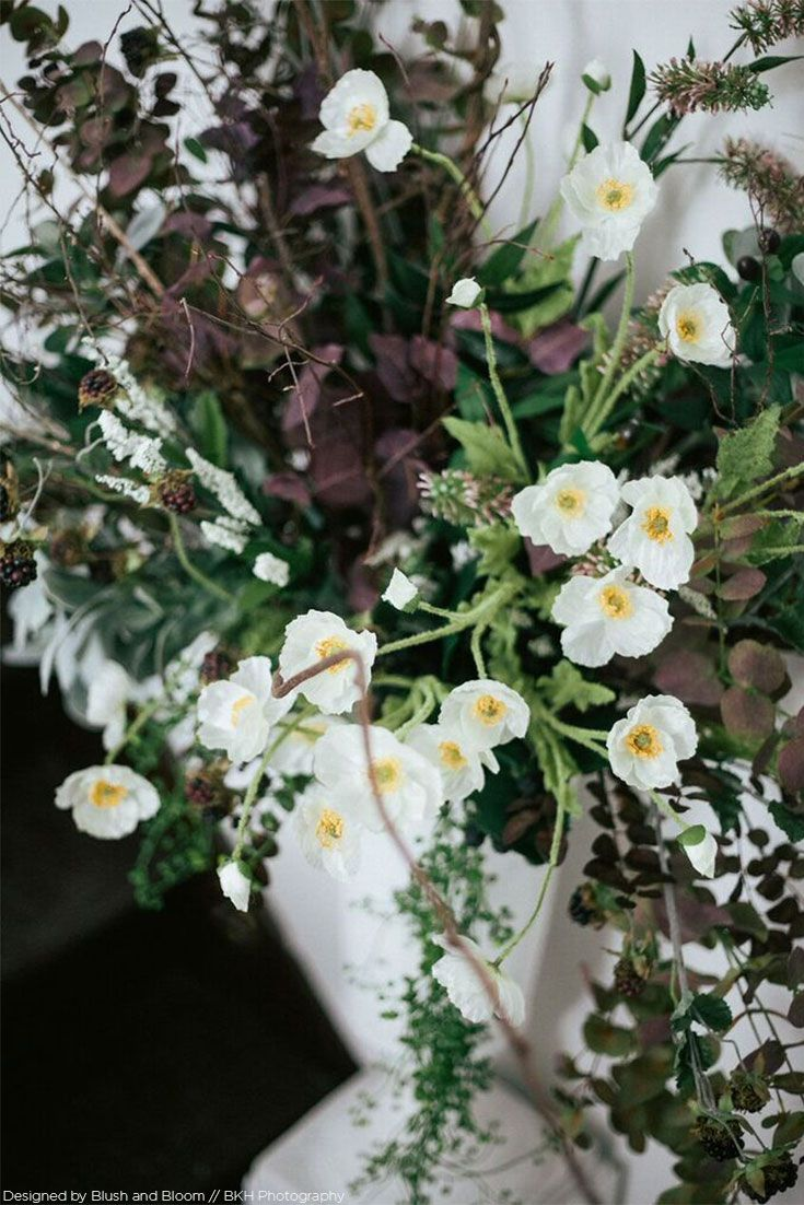 Faux california poppy flower bush in cream white 24 fall wedding get artificial wildflowers for your diy bouquets and centerpieces like this adorable california poppy bush in cream white mightylinksfo