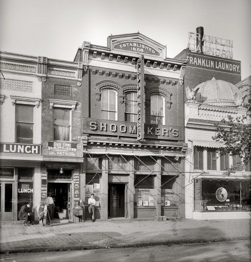 Washington circa 1917. Shoomaker's saloon at 1311 E Street N.W. after having moved from 1331 E Street in late 1914. National Photo Company glass negative.