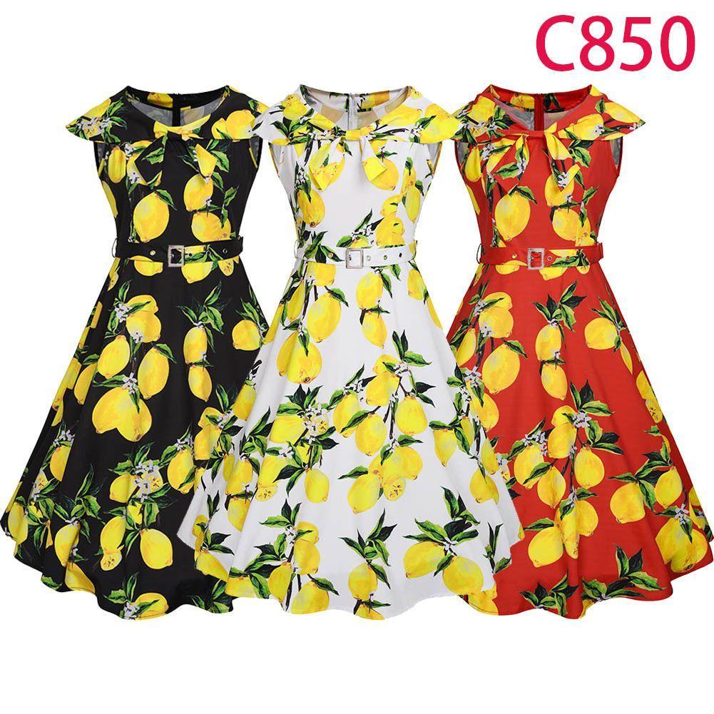 Womens lemon floral print cap sleeve belted swing dress cocktail