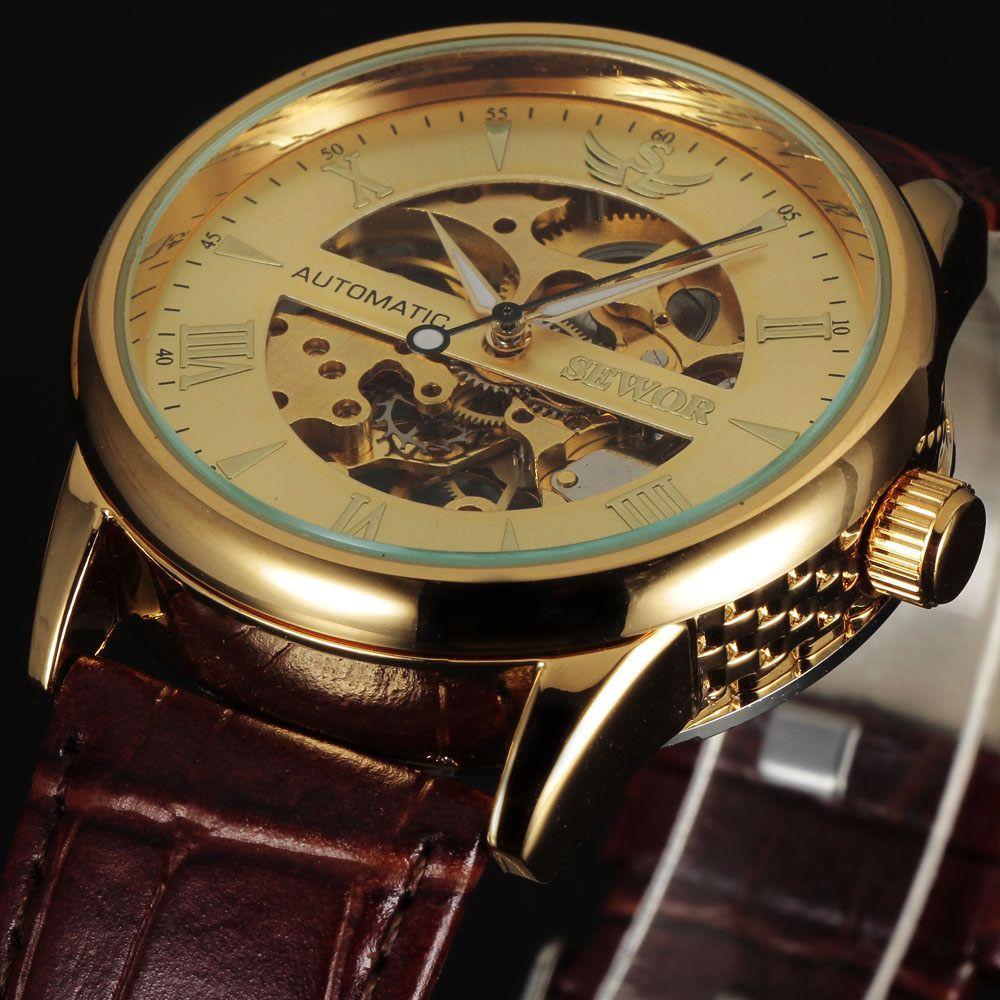 376e6d7a4e9 2016 moda marca sewor clássico elegante relógio de esqueleto dos homens de  luxo de couro de