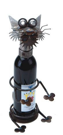 Merlot the Cat Wine Caddy - Yardbirds are metal Critters made from overrun, discontinued, rejected, and scrap materials.  Represented at Human Art Gallery in Ojai, CA.