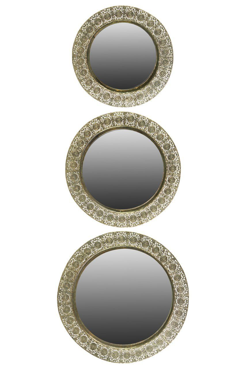 Restaurant Kitchen Wall Finishes amazon: metal round wall mirror set of three pierced