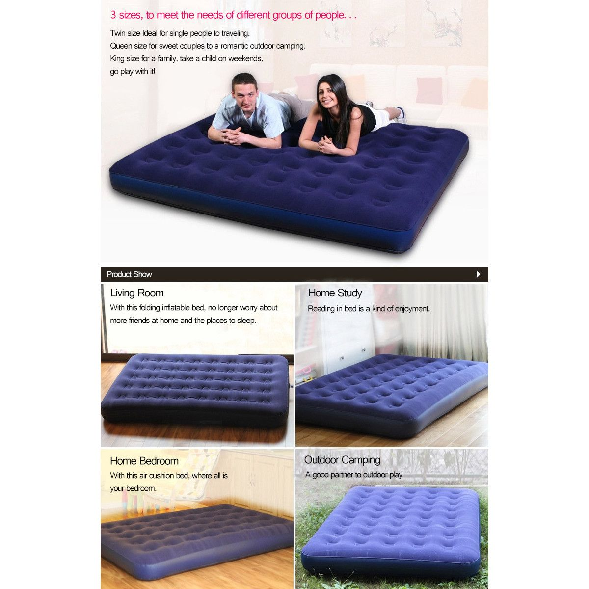 Moaere Inflatable Travel Car Air Bed Sleeping Mattress Couch Sofa Camping Seat Pump Set Air Bed Sleeping Bed Tent Mattress Sofa Mattress Couch