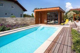 Polyesterbecken mit Poolhaus im Garten   Haus und Garten   Pinterest ...
