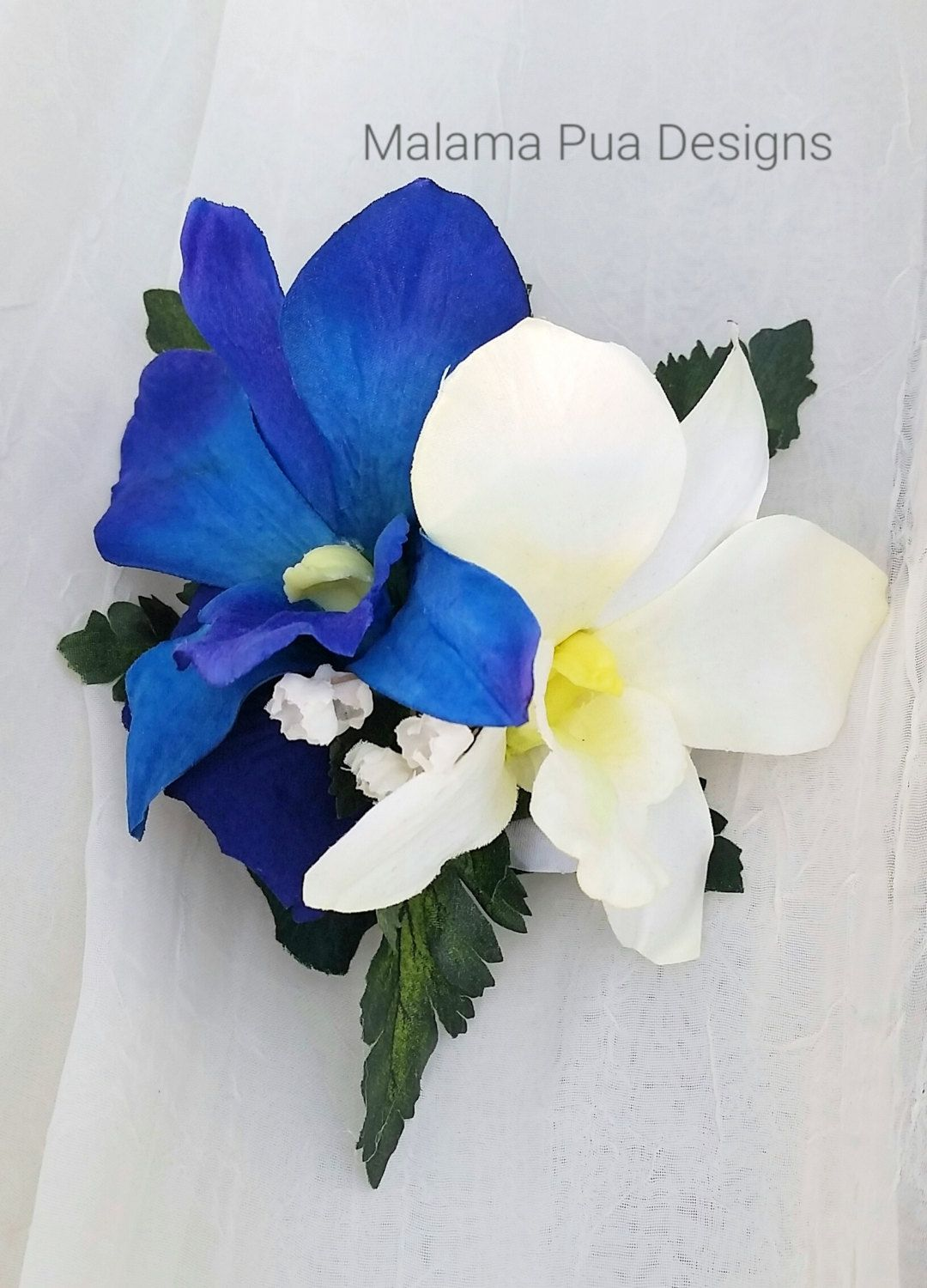 Wedding hair flower hair accessory bride hair clip blue white wedding hair flower hair accessory bride hair clip blue white flowers izmirmasajfo Image collections
