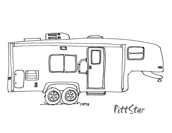 Digital Line Art Instant Download Fifth Wheel Travel by