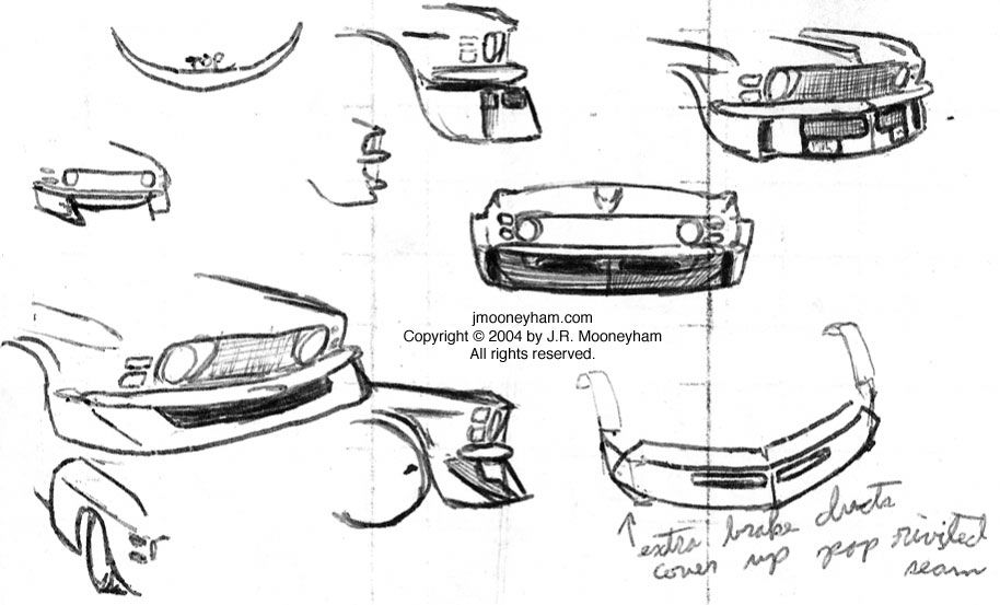 miscellaneous front air dam sketches for custom 1969 ford