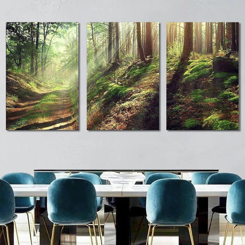 Beautiful Scene Of Misty Old Path In Forest Canvas Art X3 Panels Avail Wall Fall Canvas Art Canvas Art Sunrise Art