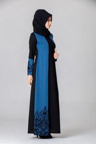 bde77d31e1d28 B.R.B. - Yeleği Flok Detayli Tesettür Elbise BRB3027 İndigo | model ...