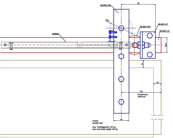 Steel sliding door fitting – individual components
