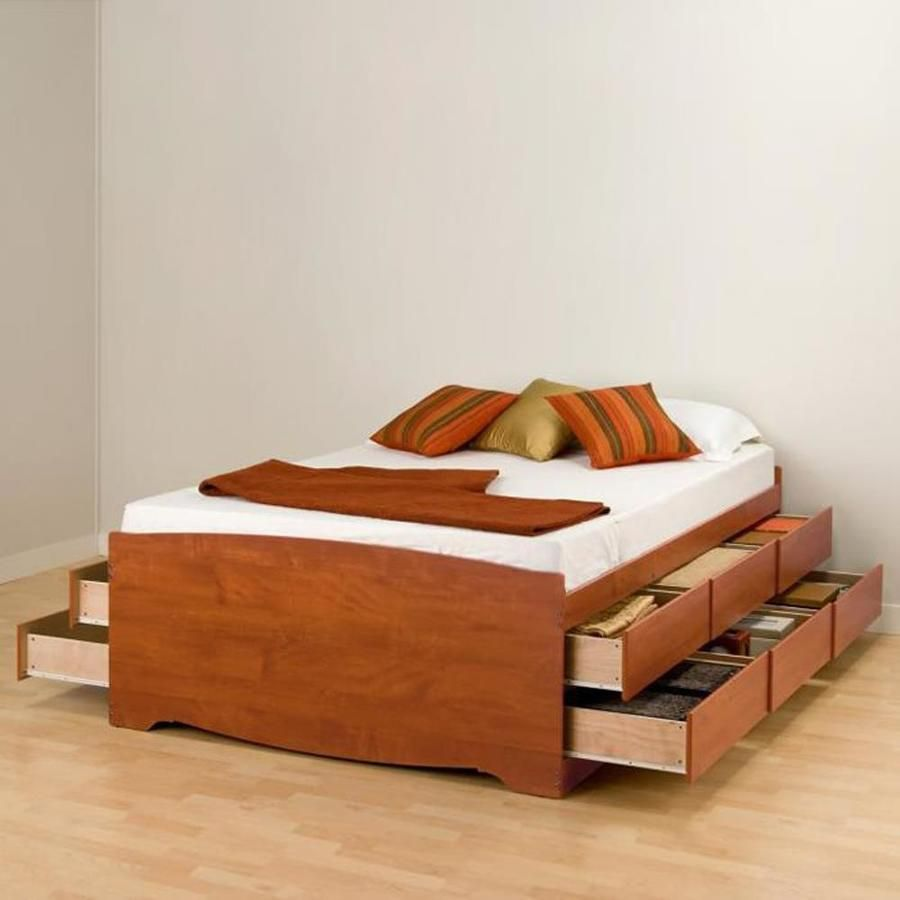 Prepac Captain S Cherry Queen Platform Bed With Storage At Lowes