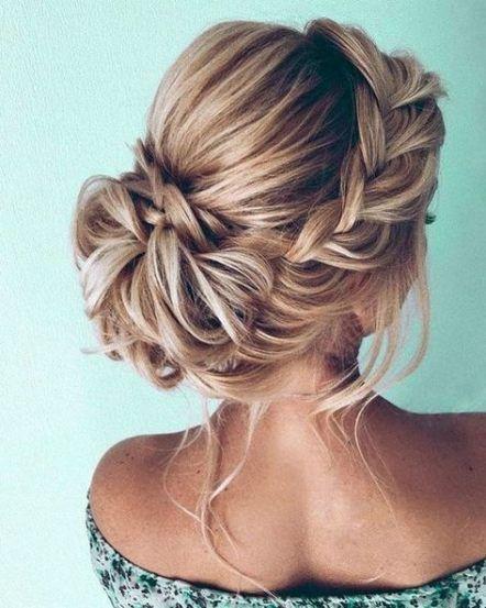 20+ Trendy Wedding Hairstyles Updo Medium Length Braids Messy Buns