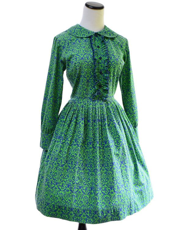 Green Long Sleeves Dress // 60s Vintage Dress // by CoolMintMoon